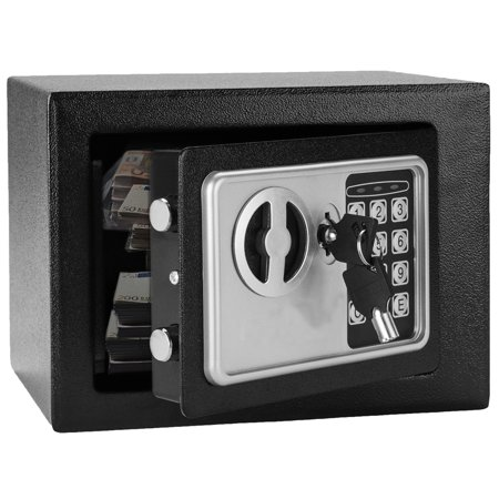 Security Safe - Digital Safe, Electronic Steel, Fireproof Lock Box with Keypad to Protect Money, Jewelry, Passports for Home, Business or Travel, Black
