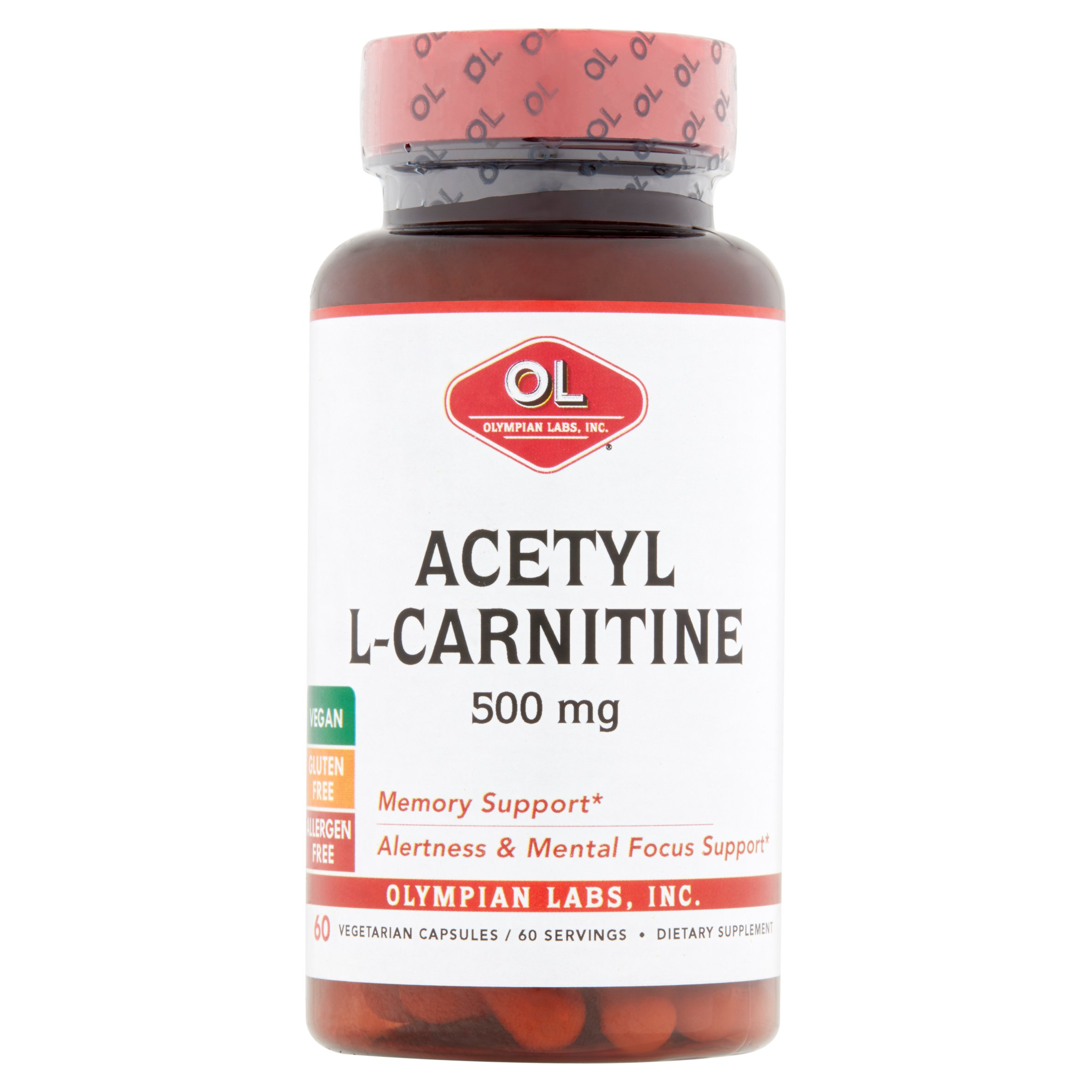 Olympian Labs Inc. Acetyl L-Carnitine Vegetarian Capsules, 500 mg, 60 count