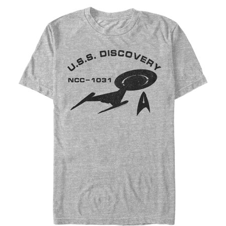 Star Trek Men's USS Discovery Outline T-Shirt Star Trek Pewter