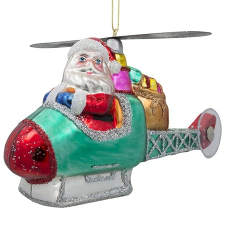 Santa Claus Helicopter Pilot Blown Glass Christmas Ornament 5 Inches Long ()