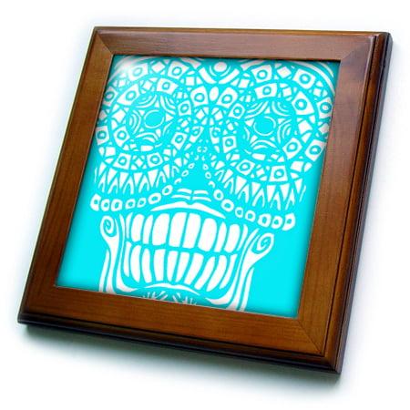 - 3dRose Sugar Skull Design in Sky Blue and White - Framed Tile, 6 by 6-inch