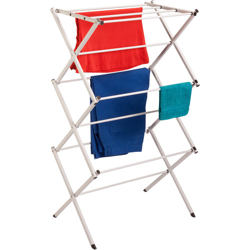 Honey Can Do Compact Folding Metal Accordion Drying Rack, Off White