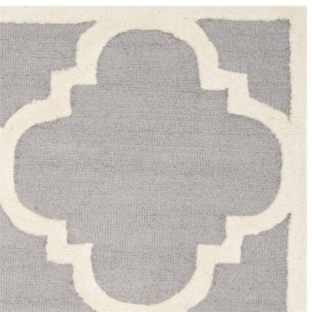 """Safavieh Cambridge 2'6"""" X 8' Hand Tufted Wool Rug in Silver and Ivory - image 1 de 3"""