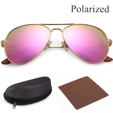 Polarized Aviator Sunglasses for Women with Case, Pink Mirrored Shatterproof 58mm Lenses, Gold Metal Frame,UV400 Protection,Spring Loaded -