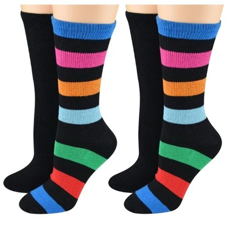 K. Bell Women's Rugby Stripe Sporty Crew Socks 2 Pairs (Black, Shoe Size (Crew Striped Rugby)