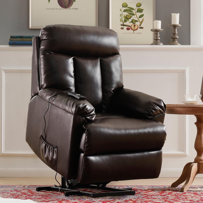 Merax Power Lift Chair Electric Recliner PU Leather Lift Recliner Chair Heavy Duty Steel Reclining Mechanism, Brown