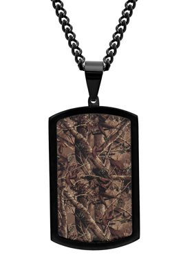 Men's Stainless Steel Black IP Camo Dog Tag Pendant Necklace Chain