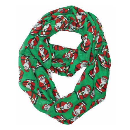 green red chubby santa christmas circle infinity scarf
