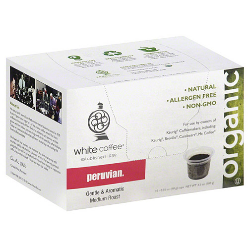 White Coffee Organic Peruvian Coffee, 3.5 oz, (Pack of 4)