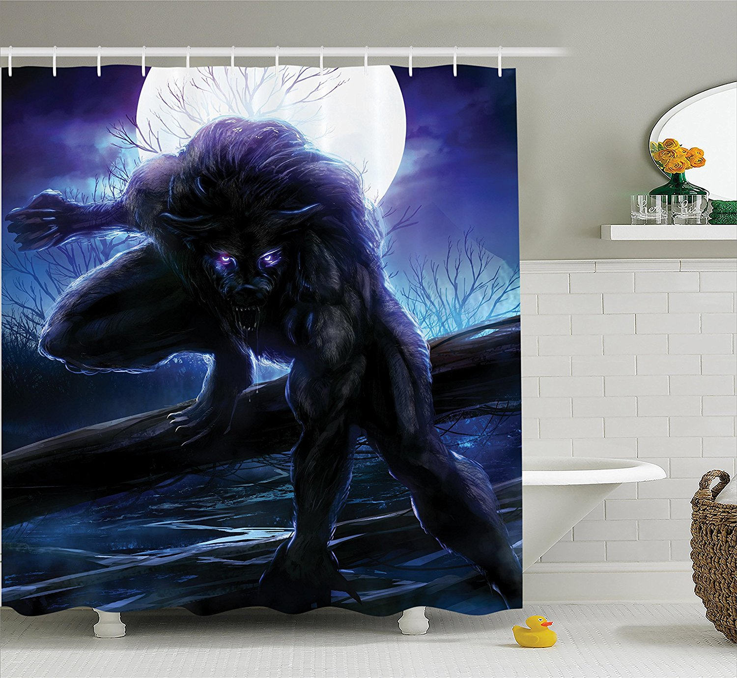 Fantasy World Decor Shower Curtain by , Surreal Werewolf ...