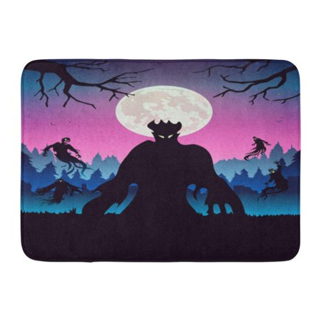 GODPOK Above Silhouette of Evil Spirit Flying on Forest at Full Moon Night About Halloween and Fantasy Antonyms Rug Doormat Bath Mat 23.6x15.7 inch](Full Moons On Halloween)
