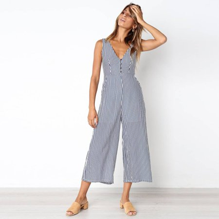 1a230763227 UKAP - Women Striped V Neck Spaghetti Strap Rompers Casual Playsuits Loose  Ladies Sleeveless Jumpsuit with Pocket - Walmart.com