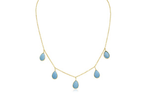 4 Carat Turquoise Multi Drop Necklace In 14K Yellow Gold 18 Inches by Overstock