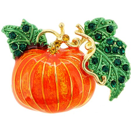 Crystal Halloween Pins (Enamel Fall Pumpkin Halloween Crystal Lapel)