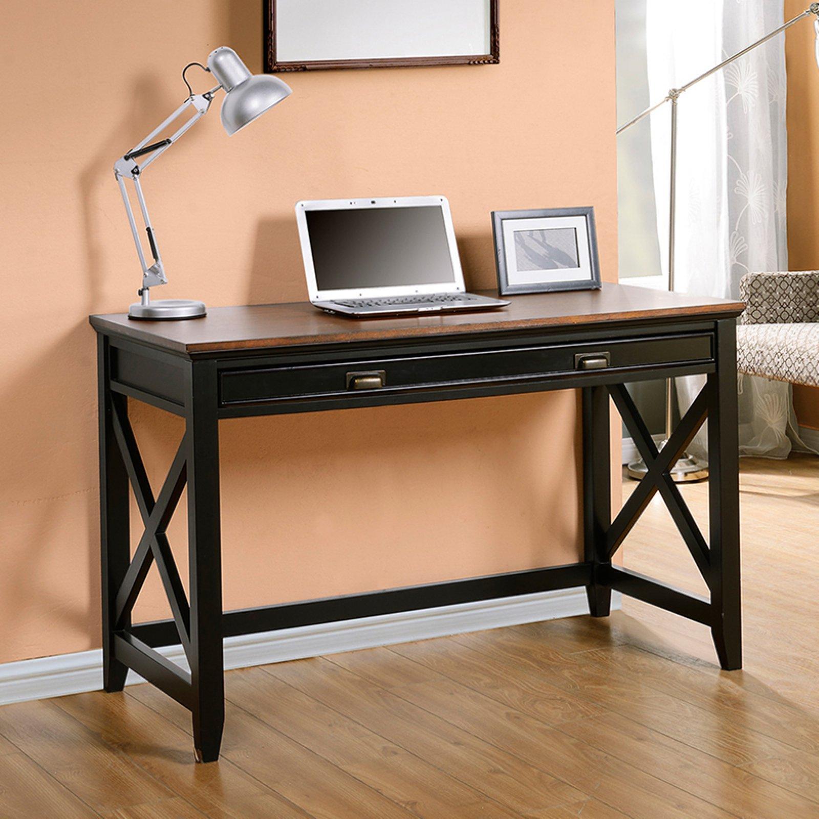 Homestar Writing Desk with Drawer, Black/Wood Finish