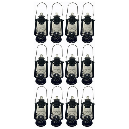 Lot of 12 - 12 Inch Black Hurricane Kerosene Lantern Light Table Decorative Lamp - Table Rock Black Lights