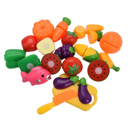 Meigar Pretend Play Food,20Pcs Fruit Vegetable Food Cutting Set Reusable Role Play Pretend Kitchen Kids - Pretend Food Toy