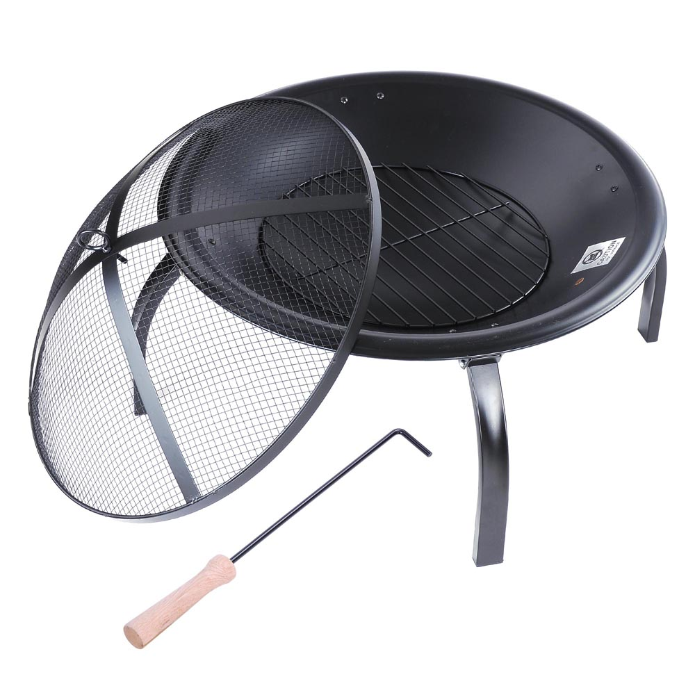 "Yescom 22"" Round Backyard Patio Fire Pit Outdoor Grill Heater Brazier w/ Mesh Cover Bowl Poker Folding Leg"