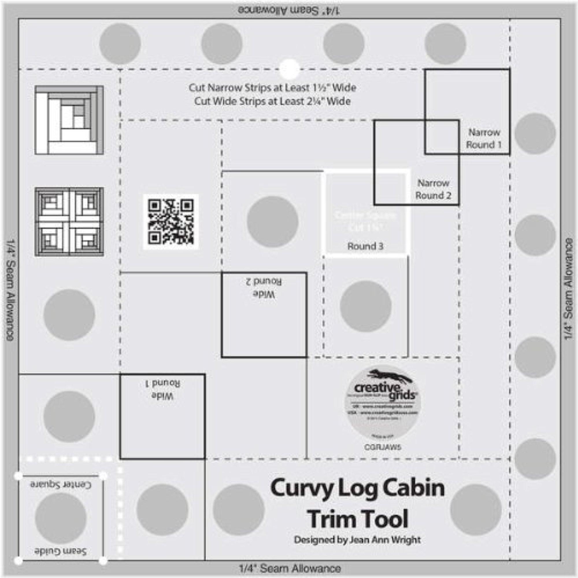 Creative Grids Curvy Log Cabin Trim Tool for 8 Finished Blocks Ruler