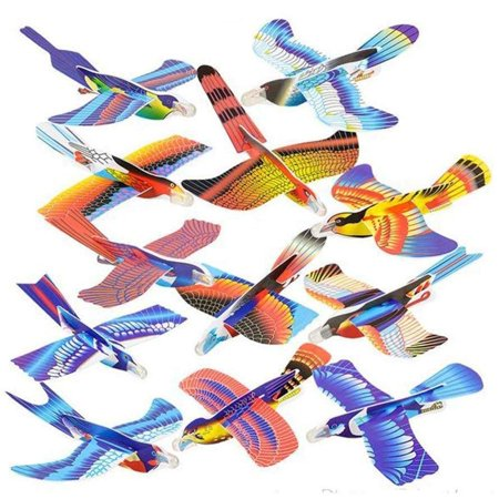 24 Pack Foam Bird Glider Plane Set 7 Inch, Assorted Colors And Styles - Make Your Own Flying Glider Bird - For Kids, DIY, Toys, Prize, Party Favor - By Kidsco](Party Rocket)