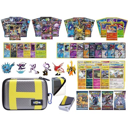 Totem World Pokemon Premium Collection 100 Cards with GX Mega EX Shining Holo 10 Rares 4 Booster Pack - 100 Sleeves - Ultra Ball Theme Card Case - Deck Box and Figure (Mega Pokemon Booster Packs)