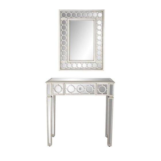 Decmode Modern 2-Piece Wood and Glass Wall Mirror and Console Table ...