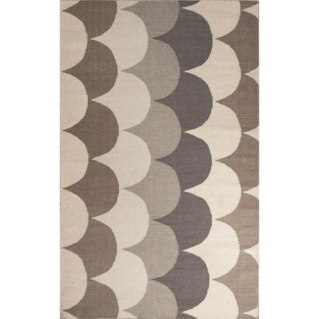 5' x 8' Desert Sand, Beaver Brown, Dark Gray and Bay Brown Ripple Flat Weave Wool Area Throw Rug ()
