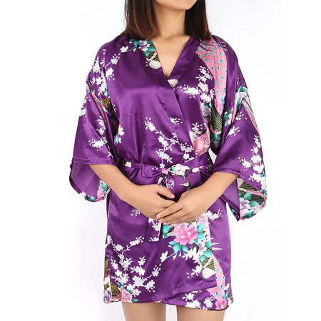 Pink Sateen Cotton Robe - Women's Rayon Satin Robe Dressing Gown