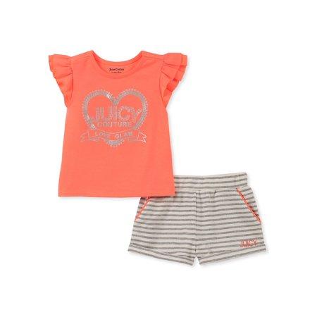 Little Girl's 2-Piece Graphic Logo Tee & Metallic Stripe Shorts Set ()