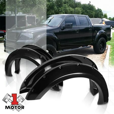Glossy Black Pocket Bolt/Rivet Fender Flares Wheel Cover for 04-08 Ford F-150 05 06 07 ()