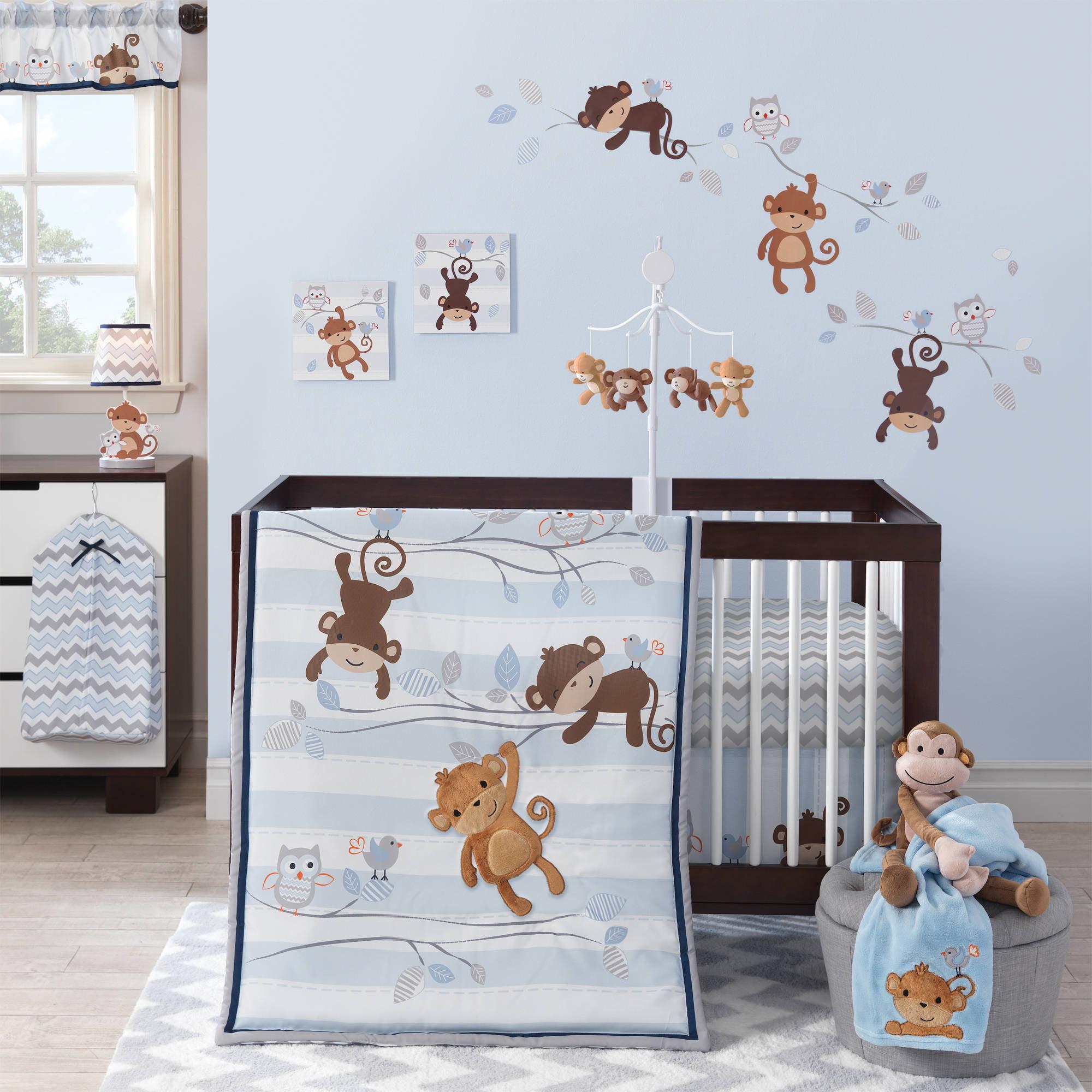 Lambs Ivy Bedtime Originals Mod Monkey 3 Piece Crib Bedding Set Blue