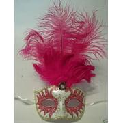 Pink Gold Pearl Venetian long Feather Masquerade Ball Dance Mask