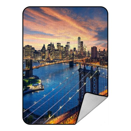 YKCG Cityscape Manhattan Brooklyn Bridge New York City Skyline Blanket Crystal Velvet Front and Lambswool Sherpa Fleece Back Throw Blanket 58x80inches