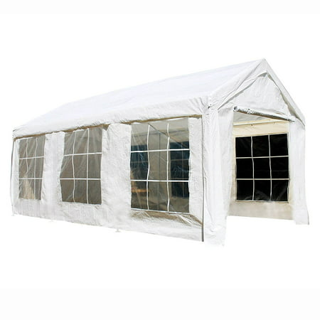 ALEKO Outdoor Canopy Tent with Sidewalls and Windows - 10 X 20 FT - White