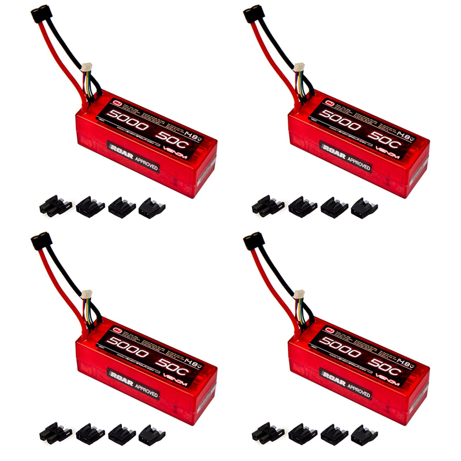 Venom 50C 4S 5000mAh 14.8V Hard Case LiPo Battery ROAR with Universal Plug (EC3/Deans/Traxxas/Tamiya) x4 Packs