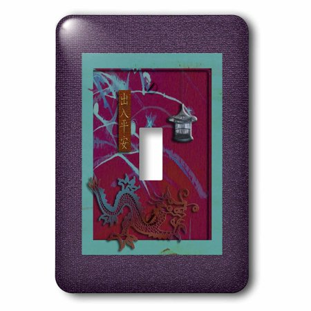 3dRose Prosperous New Year in Chinese, Colorful Dragon with Lantern - Single Toggle Switch (lsp_40296_1)