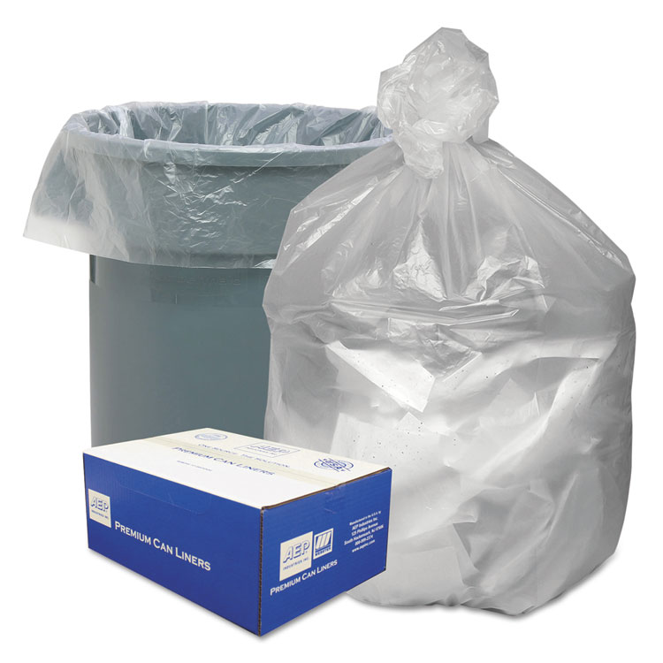 High Density Waste Can Liners, 40-45gal, 10 Microns, 40x46, Natural, 250/carton