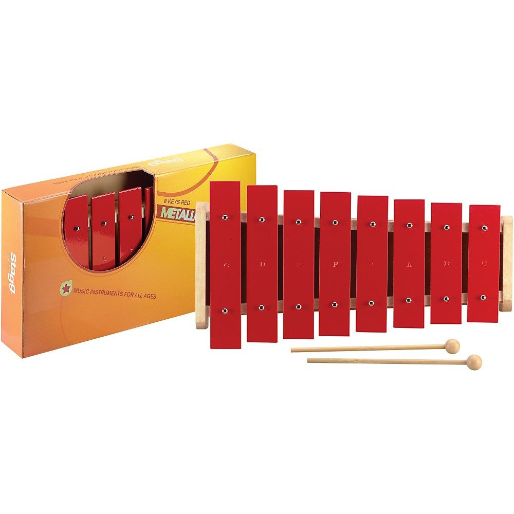Stagg 1 Octave Metallophone, 8 Keys, C-C Red