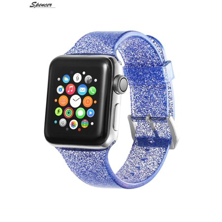 a78adc05e Spencer - Spencer Women Men Bling Glitter Replacement Watch Band Silicone  Sport Wristband Strap For Apple Watch iWatch Series 4 & 3 & 2 &  1(42mm,Blue) ...