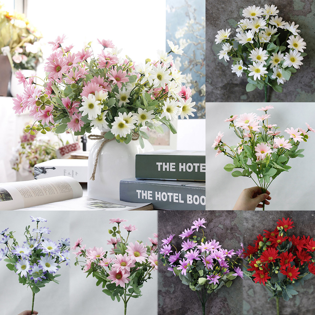 Girl12Queen 1 Bouquet Artificial Plant Plastic Daisy Flower Home Hotel Shop Fence Decoration