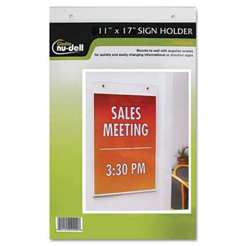 Glolite Nu-dell Clear Plastic Sign Holder, Wall Mount, 11 x 17 38017Z