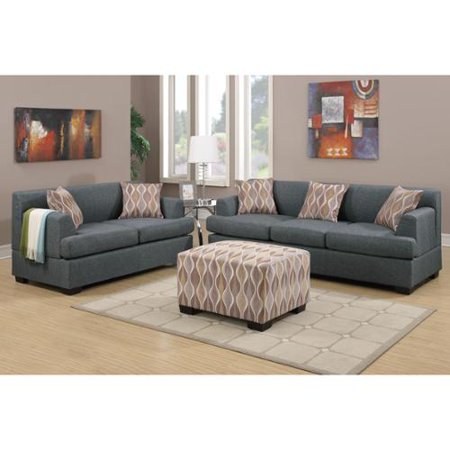Poundex farsund 2 piece living room set in blended linen for Matching living room sets