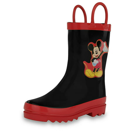 Disney Kids Boys' Mickey Mouse Character Printed Waterproof Easy-On Rubber Rain Boots (Toddler/Little