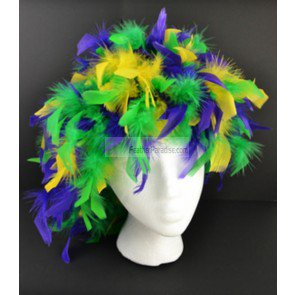Dark Purple Wig (Mix Purple Green Yellow Chandelle Feather Wigs/ Mardi Gras)