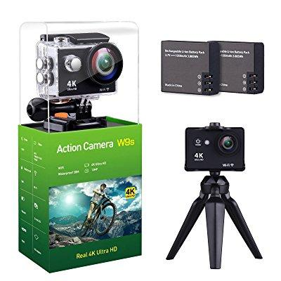nzace w9s action camera 4k full hd wifi waterproof sports dv camcorde with 4k 10fps 1080p 30fps 720p 30fps video 12mp photo and 140 wide angle lens includes 11 mountings kit 2 batteries black
