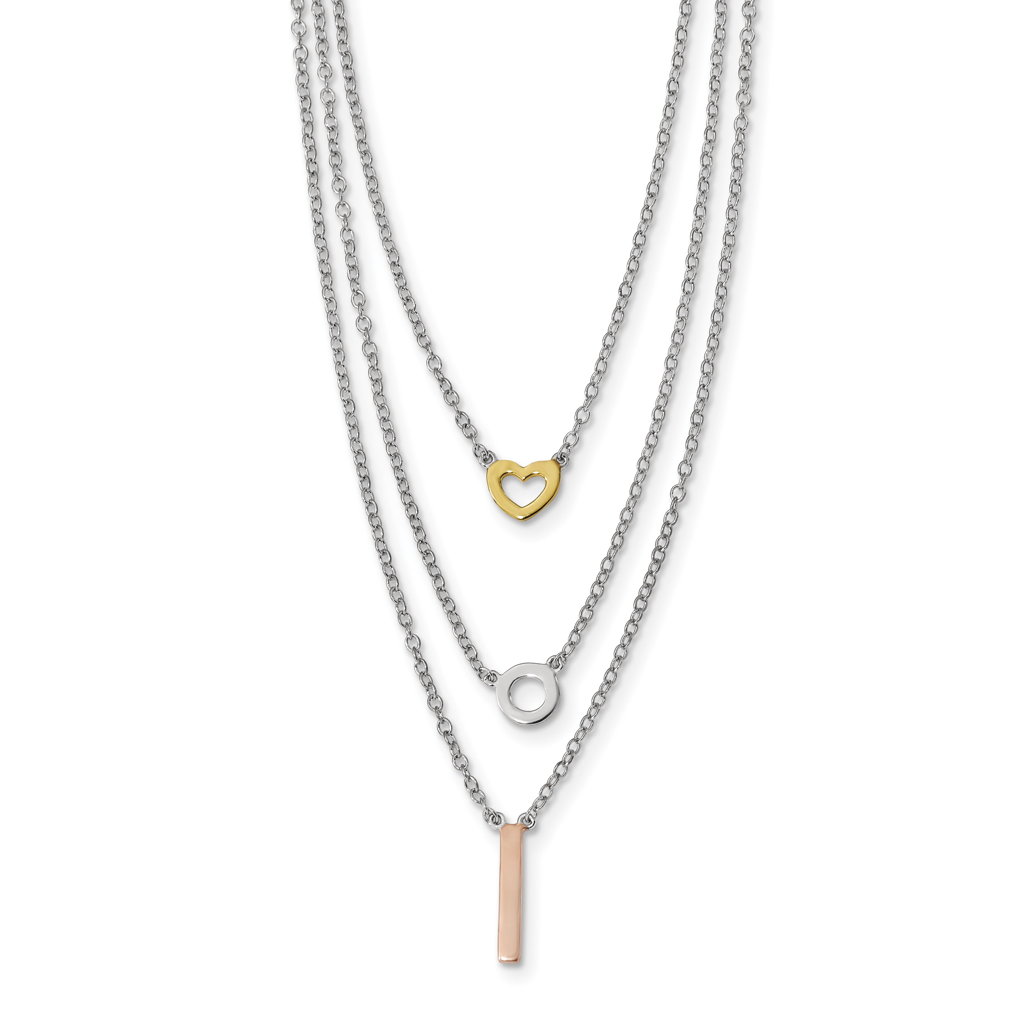 925 Sterling Silver Rhodium-Plated, Gold-Tone Heart, Rose-Tone Bar Necklace 16 Inch - image 1 de 1