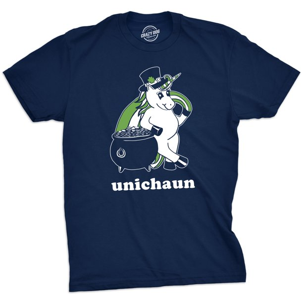 Mens Unichaun Tshirt Funny Unicorn Leprechaun St. Patricks Day Tee For Guys