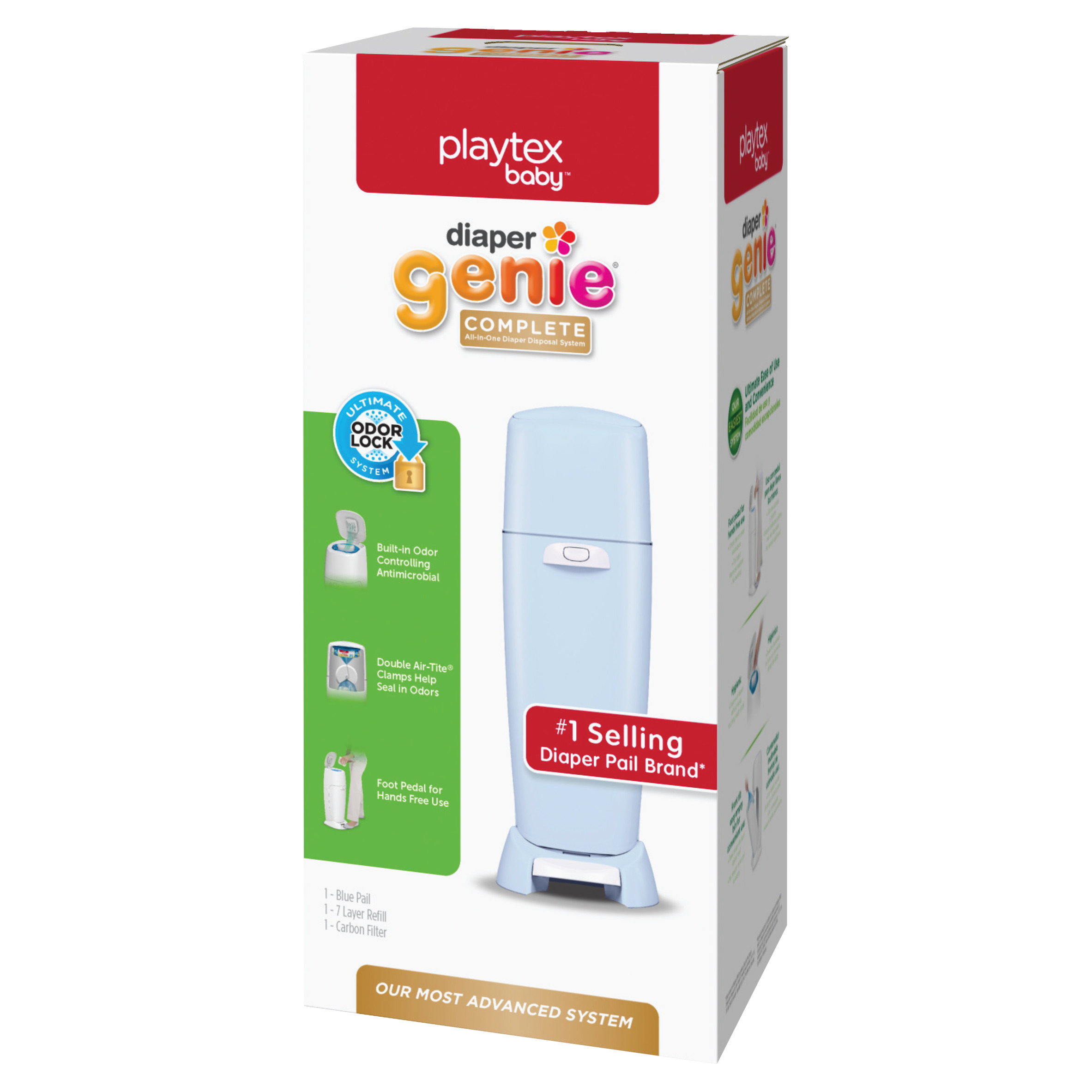 Playtex Diaper Genie Complete Blue Diaper Pail with 1 Refill by Playtex Baby