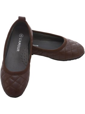 ec09046581df Product Image Brown Quilted Slip On Flat Fall Dress Shoes Toddler Girls  6-10. L Amour