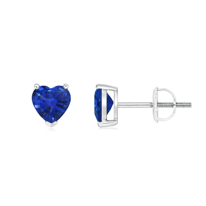 Angara 3-Prong Blue Sapphire Stud Earrings in Yellow Gold